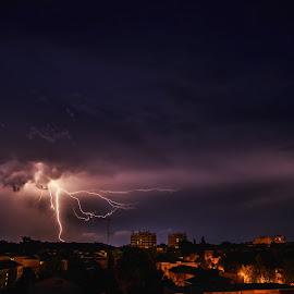 lightning by Ionel Covariuc - City,  Street & Park  Night ( picture, lighting, night, town, storm )