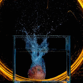 splash with fire painting by Tt Sherman - Abstract Water Drops & Splashes ( light painting, splash, fire painting, splash water photography, fire )