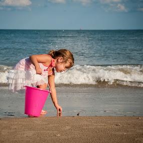 Child Picking up Seashells on Beach by Kevin Beasley - Babies & Children Children Candids ( nostalgia, childhood, sandcastle, seashells, shells, small girl, sand bucket, sand pail, girl, summer, sand, toddler, ocean, beach, vacation, playing, virginia, summertime, child,  )