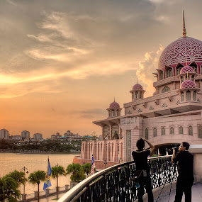 Sunset at Putrajaya Mosque by Jasni Ulak - Landscapes Travel ( malaysia putrajaya mosque sunset )