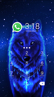 App Blue Cool Wolf King AppLock apk for kindle fire