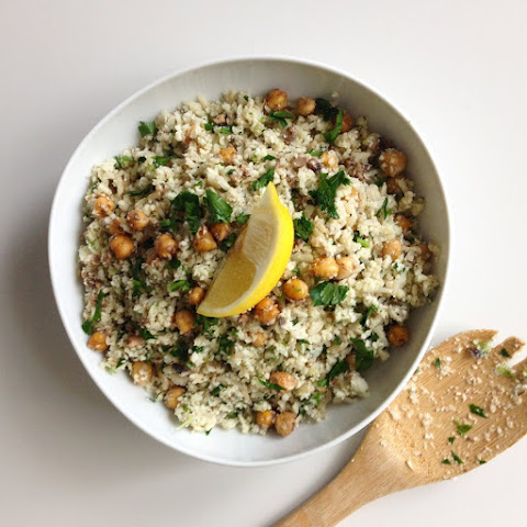 Cauliflower Pilaf with Pan Roasted Chickpeas