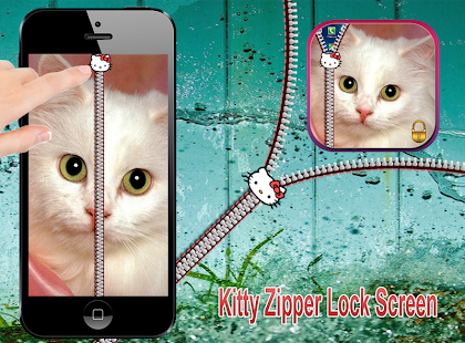 kitty zipper lock  screen - screenshot