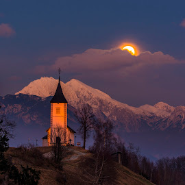 Moon (01/23/2016) at Sts. Primus and Felician Church (Jamnik) by Beno Medic - Landscapes Sunsets & Sunrises