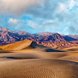 Sundown at Mesquite Dunes by Dale Kesel - Landscapes Deserts ( death valley, clouds, dramatic lighting, sand, dunes, desert, sunset, southwest, dramatic, cloudscape, masquite dunes, sidelight )