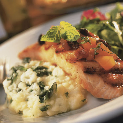 Grilled Salmon With Fruit Chutney and Spinach Mashed Potatoes