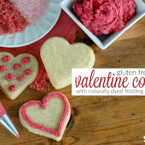 Gluten Free Valentine's Day Sugar Cookie Hearts With Naturally Dyed Frosting