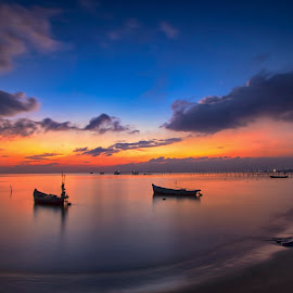 The boat in the morning by Shee Ronny - Landscapes Sunsets & Sunrises ( nature, indonesia, sunset, beautiful, beach, seascape, sunrise, morning, landscape )
