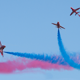 Red Arrows by Tommy  Cochrane - Transportation Airplanes ( uk, display, red arrow, raf, airshow, hawk )