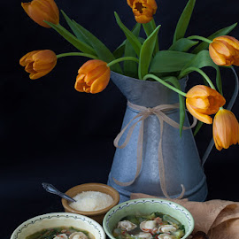 Brightening up a cold winters day by Diane Rosoha Granger - Food & Drink Plated Food ( garnish, tulips, soup, ladel, bowls,  )