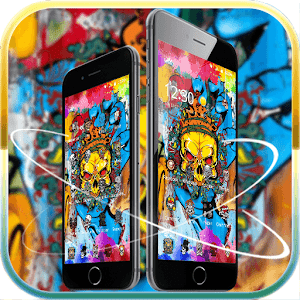 Golden skull theme graffiti