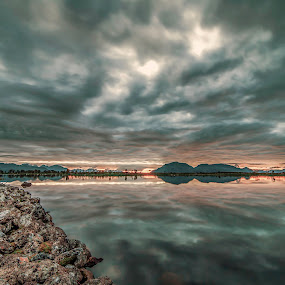Grey sunset by Benny Høynes - Landscapes Sunsets & Sunrises ( water, cloudes, sunset, reflections, norway, colours )