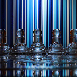 Glass pawns and blue lines by Peter Salmon - Artistic Objects Glass ( pieces, chess, glass, lines, pawns )
