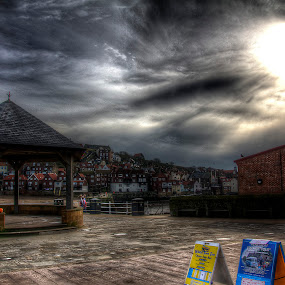 Stormy Whitby by Mark Holm - City,  Street & Park  Neighborhoods ( clouds, hdr, street, whitby, sun )