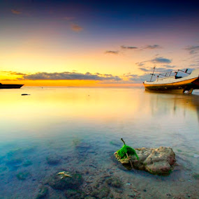 Smoothly Sunset by Aris Winahyu BR - Landscapes Waterscapes ( waterscape, sunset, beach )