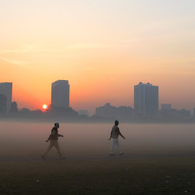 towards the foggy land by Arup Chowdhury - City,  Street & Park  Street Scenes