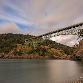 Deception Pass Bridge by Bill Kuhn - Buildings & Architecture Bridges & Suspended Structures ( shore, washington, deception, whidbey island, whidbey, pass island, long exposure, bridge, deception pass bridge, island, pass )