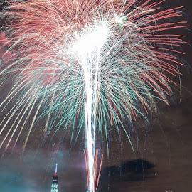 Happy 4th of July by Mariya Miteva-Simon - City,  Street & Park  Skylines ( skyline, new york skyline, night photography, 4th of july, fireworks, manhattan, new york, freedom tower, independence day, nightscape )