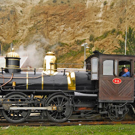 Steam train, Oamaru, New Zealand. by Graeme Hunter - Transportation Trains