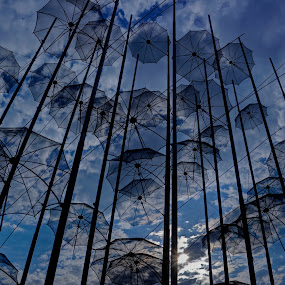 umbrellas by Stratos Lales - Artistic Objects Still Life ( clouds, sky, umbrellas, thessaloniki, greece )