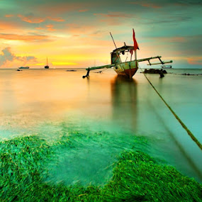 Roped Boat #5 by Aris Winahyu BR - Landscapes Waterscapes ( waterscape, sunset, beach, boat )