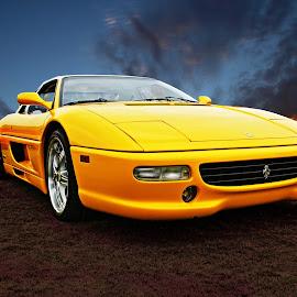 355 F1 berlinetta by JEFFREY LORBER - Transportation Automobiles ( italian car, berlinetta, lorberphoto, ferrari, yellow car, jeffrey lorber )