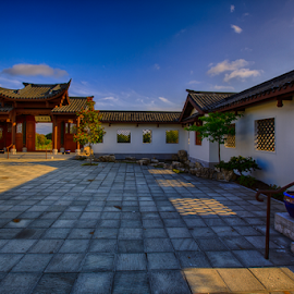 Sunrise in the Courtyard by Briand Sanderson - Buildings & Architecture Other Exteriors ( seattle chinese garden, architecture, sunrise, courtyard, chinese, chinese garden )
