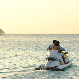 Just Married by Andrew Morgan - Wedding Other ( love, zanzibar, sunset, wedding, jetski, sea, travel, beach )