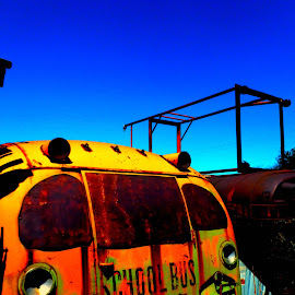 old bus by Jennifer Ablicki - Artistic Objects Other Objects ( bus, junkyard, school bus, rust, yellow bus, antiques )