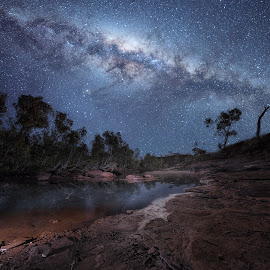 To The Stars by Greg Tennant - Landscapes Starscapes ( stars, creek, galaxy, milky way )