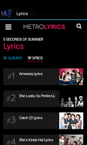 android 5 Seconds of Summer Lyrics Screenshot 1