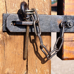 Lock by Anita Berghoef - Buildings & Architecture Architectural Detail ( timber, chain, lock, architectural detail, object, iron, gate,  )