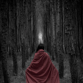 Red Riding Hood by Robbie Caccaviello - People Fine Art ( red ridding hood, black and white, theme, portfolio, little, forest, young, colour, girl, red, outdoor, trees, fairytale )