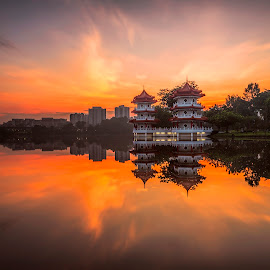 Burning Sky @ Chinese Garden by Gordon Koh - City,  Street & Park  Vistas ( icon, orange, reflection, pagoda, park, cityscape, architecture, calm water, singapore, burning sky, landmark, tower, asia, sunrise, chinese garden,  )
