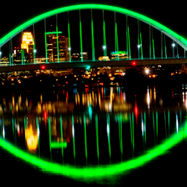 St. Patties Lowell  by Tina Hailey - Buildings & Architecture Bridges & Suspended Structures ( lights, lowell bridge, minnesota, minneapolis, green, tina's captured moments, bridge )