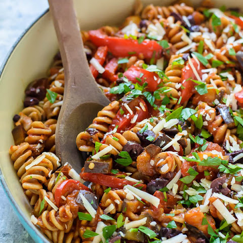Eggplant Pasta with Red Pepper and Tomato