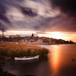 Golyazi 1 by Galip Çetiner - Landscapes Waterscapes ( village, cloud, long exposure, lake, boat )