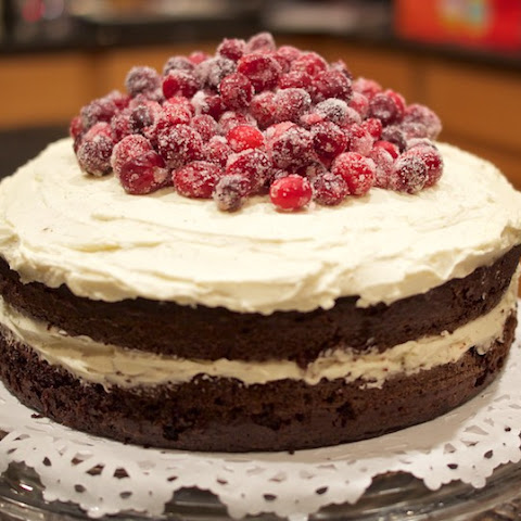 Chocolate Mascarpone Layer Cake with Sugared Cranberries