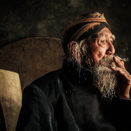 old man 2 by Tiz Brotosudarmo - People Portraits of Men