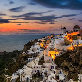 Oia by Jose Hamra - City,  Street & Park  Vistas ( home, sunset, greece, sunrise, oia, santorini, city )
