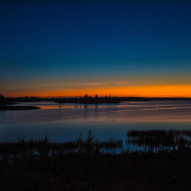 Sunset by Joe Chowaniec - Landscapes Sunsets & Sunrises ( reflection, sky, sunset, dark, night, landscapes, landscape, dusk )