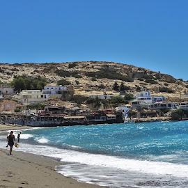 Matala Beach by Nicoleta Gradinaru - Landscapes Beaches ( mountain, greece, sea, lybian sea, azure water )