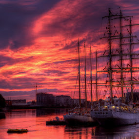 Sunrise over Tall Ships by Bill Green - Transportation Boats ( tallships, london, greenwich )