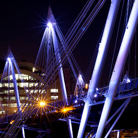 Golden Jubilee Bridge, London by Helen Mathias - Buildings & Architecture Architectural Detail ( detail, london, golden jubilee bridge, night )