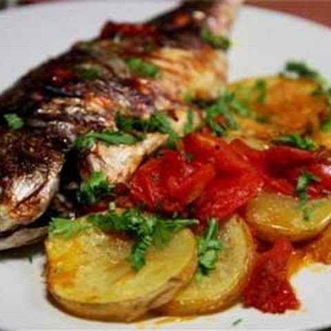 Baked Bream with Tomatoes and Potatoes