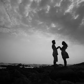 by Rizano Sumampouw - People Couples ( prewed, clouds, sweetheart, beach, landscape, couples, love, blackandwhite, sweet, prewedding, lovely, cloudy, cloud, couple, bride and groom )