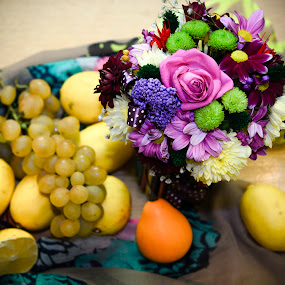 Autumn Beauties by Andreea Alexe - Artistic Objects Still Life ( lemons, indoor, purple, pumpkin, grapes, green, yellow, flowers,  )
