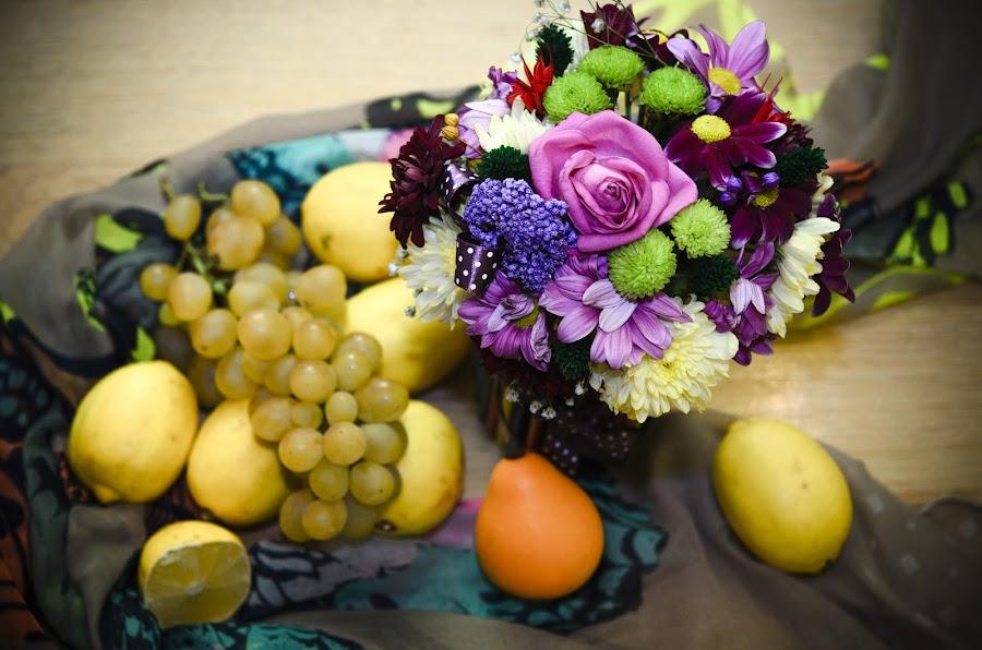 Autumn Beauties by Andreea Alexe - Artistic Objects Still Life ( lemons, indoor, purple, pumpkin, grapes, green, yellow, flowers,  )