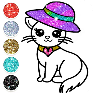 Cute Kitty Coloring Book For Kids With Glitter For PC (Windows & MAC)