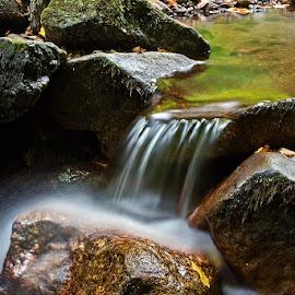 by Siniša Almaši - Nature Up Close Water ( water, up close, stream, nature, cascade, darken, view, stones, light, rocks, river )